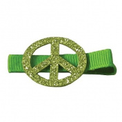 Reflectionz Girls Green Glitter Peace Sign Hair Clippie