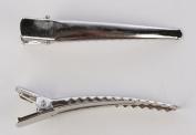 Bulk Bag 6cm Silver Alligator Hair Clips-100 Clips