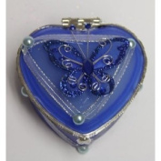Heart Shaped Glass Jewellery Trinket Box with Butterly - Dark Blue