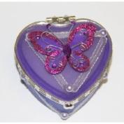 Heart Shaped Glass Jewellery Trinket Box with Butterly - Dark Purple