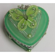 Heart Shaped Glass Jewellery Trinket Box with Butterly - Green
