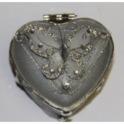 Heart Shaped Glass Jewellery Trinket Box with Butterly - Silver