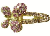 Mini Butterfly Hair Clip With Pink Rhinestones