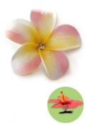 Hawaiian Hair Clip Foam Flower Plumeria & Rhinestone Pink & Yellow