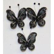 Gift Square 5.1cm Organza Butterfly Clip Wedding Favour 20 Pack - Black