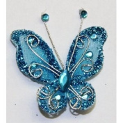 Gift Square 5.1cm Organza Butterfly Clip Wedding Favour 20 Pack - Dark Turquoise