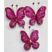 Gift Square 5.1cm Organza Butterfly Clip Wedding Favour 20 Pack - Fuchsia
