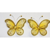 Gift Square 5.1cm Organza Butterfly Clip Wedding Favour 20 Pack - Gold
