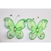 Gift Square 5.1cm Organza Butterfly Clip Wedding Favour 20 Pack - Lime Green