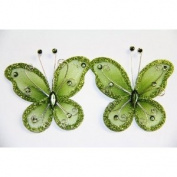 Gift Square 5.1cm Organza Butterfly Clip Wedding Favour 20 Pack - Moss Green