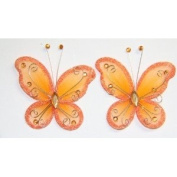 Gift Square 5.1cm Organza Butterfly Clip Wedding Favour 20 Pack - Orange