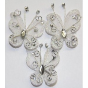 Gift Square 5.1cm Organza Butterfly Clip Wedding Favour 20 Pack - White