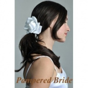 10.2cm Silk White Rose Boutique Hair Clip Wedding