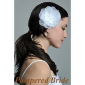12.7cm Organza Silk Flower Hair Clip for Wedding Ivory