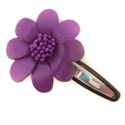 Purple Floral Barrette Genuine Leather Hair Pinch Clip