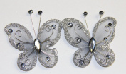 Gift Square 7.6cm Organza Butterfly Clip Wedding Favour 20 Pack - Silver