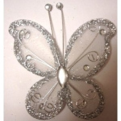 Gift Square 7.6cm Organza Butterfly Clip Wedding Favour 20 Pack - Silver and White