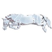 Jumping Horse Hair Clip Platinum plated and comes in a blue velvet clam shell box with satin lining