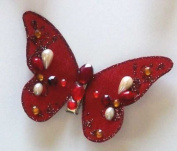 Dark Red Butterfly Clip