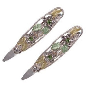Olicia Silver Yellow Crystal Pair Hair Clips