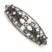 Hand Enamelled Floral Oval Hair Clip