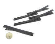 (80) Black Alligator Hair Clip with teeth , Silver Metal Curl Prong Clips Spring in Hair - 3 Inch 75mm