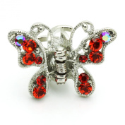 DoubleAccent Hair Jewellery Butterfly Small Hiar Jaws With Crystal petals Set Of Two Red Colour