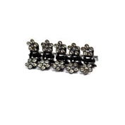 DoubleAccent Hair Jewellery Flower Mini Hair Jaws with Crystal Petals - Set of 5 Black Colour