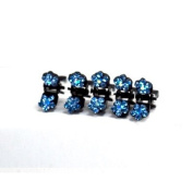 DoubleAccent Hair Jewellery Flower Mini Hair Jaws with Crystal Petals - Set of 5 Blue Colour
