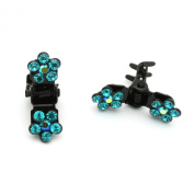 DoubleAccent Hair Jewellery Flower Mini Hair Jaws with Crystal Petals - Set of 5 Emerald Colour