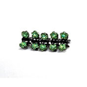 DoubleAccent Hair Jewellery Flower Mini Hair Jaws with Crystal Petals - Set of 5 Green Colour