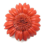 Orange Sunflower Genuine Leather 2-in-1 Floral Pin/Hairclip