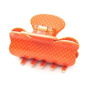 [Aznavour] Lovely & Cute Mini Dot Ribbon Claw Hair Pin / Orange #CL252(MD).