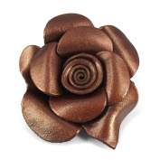 Brown Shimmer Unique Floral Motif Genuine Leather 2in1 HairPin/Brooch