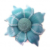Floral Mystery Blue Leather 2-in-1 Handmade Pin/Hairclip