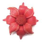 Floral Mystery Orange Leather 2-in-1 Handmade Pin/Hairclip