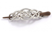 St Justin, Pewter Celtic Knot Hair-Slide With Rosewood Pin