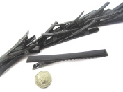 (400) Black Alligator Hair Clip with teeth , Silver Metal Curl Prong Clips Spring in Hair - 3 Inch 75mm
