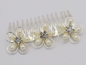 Elegant Floral Faux Pearl and Rhinestone Hair Comb for Wedding, Prom, Pageant, Quinceañera or Other Special Event