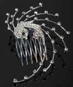 Rhinestone Silver Swirly Hair Comb for Wedding, Prom or Special Occasion