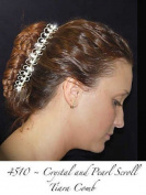 Crystal and Pearl Scroll Design Tiara Hair Comb for Weddings, Proms, Quinceañera, or Pageants