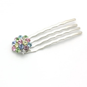 DoubleAccent Hair Jewellery Small Swarovski Crystal Cluster Mini Bridal Hair Comb Set of Two RainBow Colour