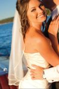 Bridal Veil Wedding One Tier Diamond Off White Shoulder 3 mm Satin Ribbon Edge