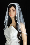 Bridal Veil Wedding One Tier Diamond Off White Shoulder Satin 6 mm Ribbon Trim