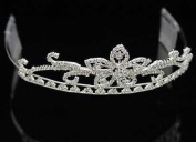 Juliet Crystal Crown Silver Tiara for Wedding, Prom, Pageant, Quinceañera or Other Special Events.
