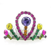 Multi-coloured. Crystal Mini Tiara Comb 3.8cm Wide