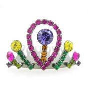 Multi-coloured. Crystal Mini Tiara Comb 3.8cm Wide