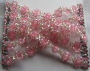 Hair Bling Light Pink Floral and Silver Hugger Double Beaded Comb 02006