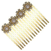 DIANTHUS Gold Crystal Pearl Hair Comb