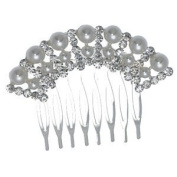 LOLLA-ROSIE Small Silver Crystal Pearl Hair Comb
